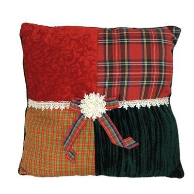Skyler Square Textured Tartan Plaid Velvet Decorative Christmas Throw Pillow