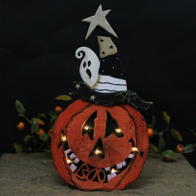 Battery Operated LED Red Pumpkin Standing Wood Halloween Lighted Display THLY2967 44420139
