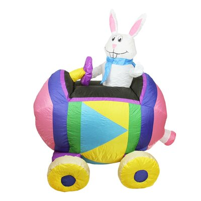 Inflatable Easter Bunny Driving an Egg Car Easter Decoration
