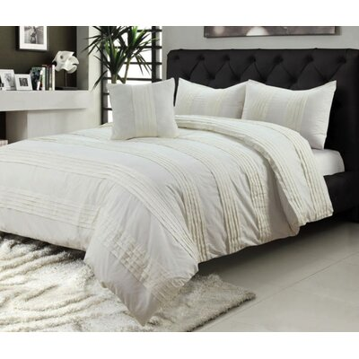 Pintuck 100% Cotton 4 Piece Duvet Set Size: King