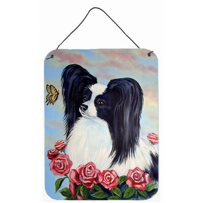 Black and White Papillon in Roses by Lyn Cook Painting Print Plaque