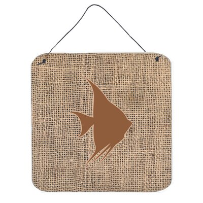 Fish Angel Fish by Denny Knight Graphic Art Plaque in Burlap and Brown