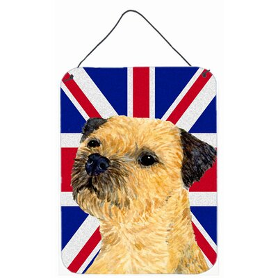 Border Terrier with English Union Jack British Flag Hanging by Lyn Cook Graphic Art Plaque