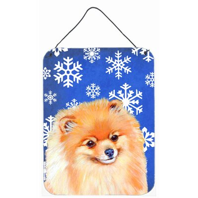 Pomeranian Winter Snowflakes Holiday Hanging by Lyn Cook Graphic Art Plaque