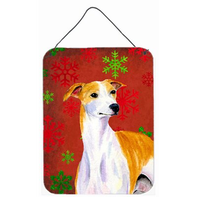 Whippet Red and Green Snowflakes Holiday Christmas Hanging by Lyn Cook Graphic Art Plaque