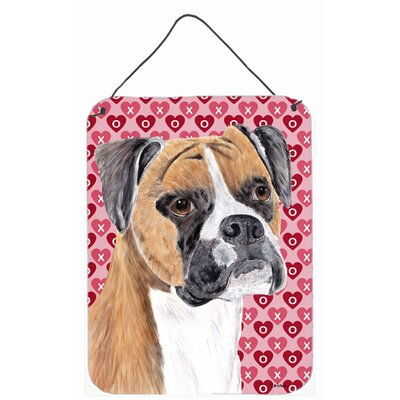 Boxer Hearts Love and Valentine's Day Portrait by Sylvia Corban Painting Print Plaque