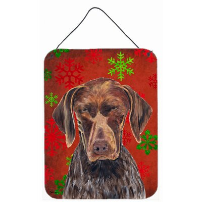 German Shorthaired Pointer Red Snowflakes Christmas by Sylvia Corban Painting Print Plaque