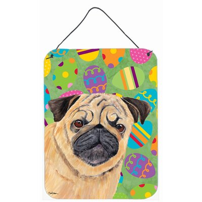 Pug Easter Eggtravaganza by Suzanne Powers Painting Print Plaque