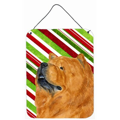 Chow Chow Candy Cane Holiday Christmas Painting Print Plaque