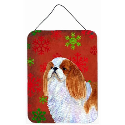 English Toy Spaniel Red Snowflakes Holiday Christmas Wall Door Hanging Painting Print Plaque