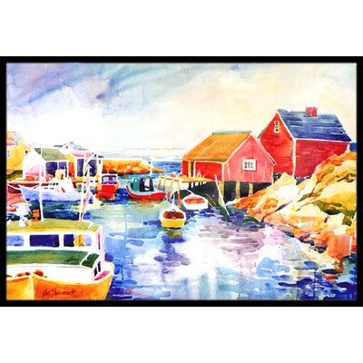 Boats at Harbour with a View Doormat Mat Size: Rectangle 2 x 3