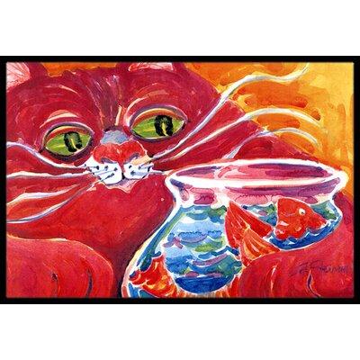 Big Cat at the Fishbowl Doormat Mat Size: Rectangle 2 x 3