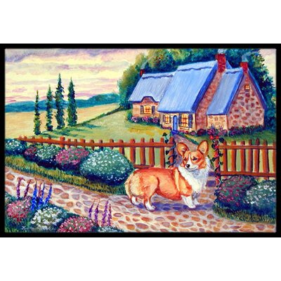 Pembroke Corgi At The Cottage Doormat Rug Size: 2' x 3'