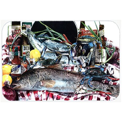 Fish and Beers from New Orleans Kitchen/Bath Mat Size: 24 H x 36 W x 0.25 D
