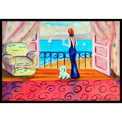 Westie with Mom and A View Doormat Rug Size: 2 x 3
