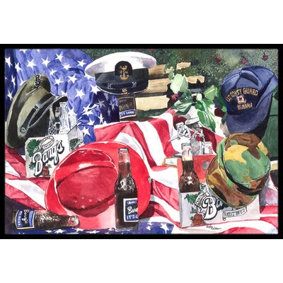 Barq's and Armed Forces Doormat Mat Size: Rectangle 2' x 3'