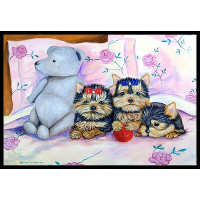 Yorkie Puppies Three in a Row Doormat Rug Size: Rectangle 2 x 3