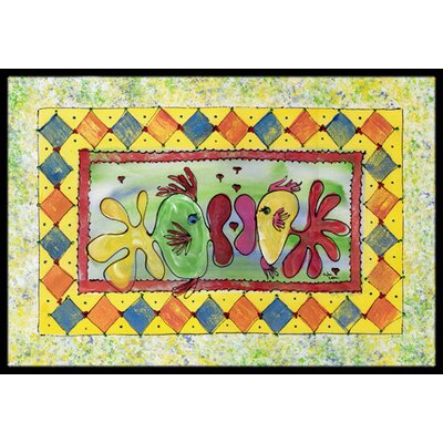 Fish Kissing Fish Doormat Rug Size: Rectangle 16 x 2 3