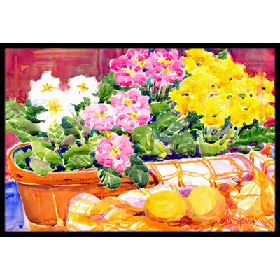 Primroses Flower Doormat Rug Size: Rectangle 2 x 3