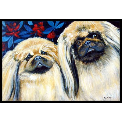 What a Pair of Pekingese Doormat Mat Size: Rectangle 2 x 3