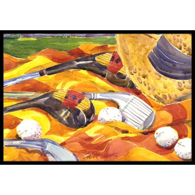 Golf Clubs Golfer Doormat Rug Size: Rectangle 2 x 3