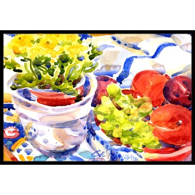Apples, Plums and Grapes with Flowers Doormat Mat Size: Rectangle 16 x 2 3