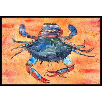 Crab on Orange Background Doormat Rug Size: 2 x 3