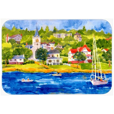 Harbour Scene with Sailboat Kitchen/Bath Mat Size: 24 H x 36 W x 0.25 D