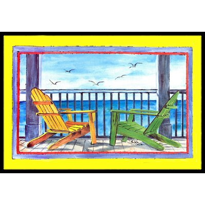 Adirondack Chairs Yellow Doormat Mat Size: Rectangle 2 x 3