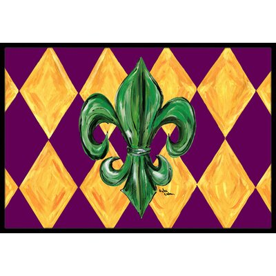 Mardi Gras Fleur De Lis Purple Green and Gold Doormat Mat Size: Rectangle 2 x 3