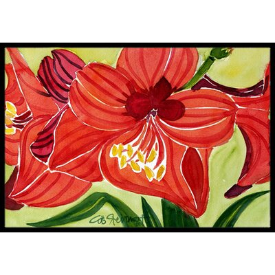 Amaryllis Flower Doormat Rug Size: Rectangle 16 x 2 3