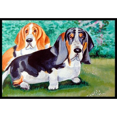Basset Hound Double Trouble Doormat Rug Size: Rectangle 16 x 2 3