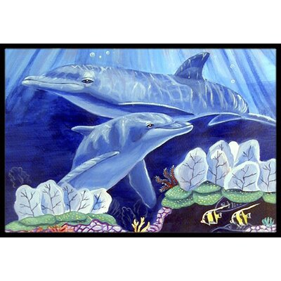 Dolphin under the Sea Doormat Mat Size: Rectangle 2 x 3