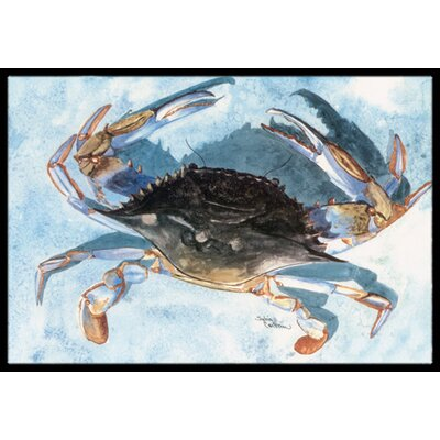 Crab Gray Indoor/Outdoor Doormat Mat Size: Rectangle 2 x 3