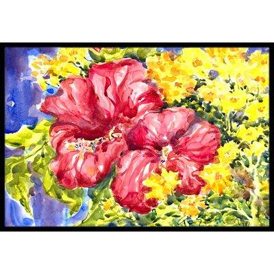 Hibiscus Flower Doormat Mat Size: Rectangle 16 x 2 3