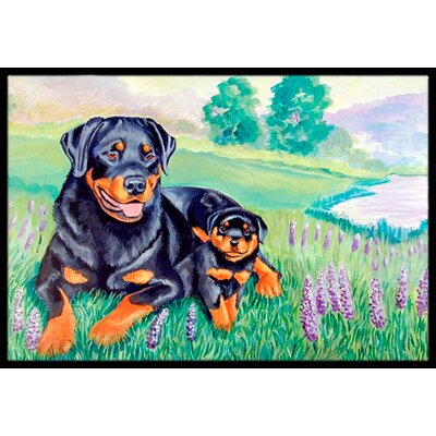 Rottweiler Doormat Rug Size: Rectangle 2 x 3