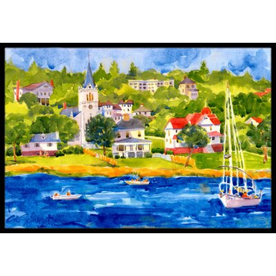 Harbour Scene with Sailboat Doormat Rug Size: 2 x 3