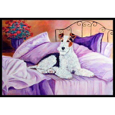 Fox Terrier Waiting on Mom Doormat Rug Size: Rectangle 2 x 3