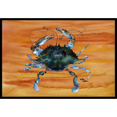Crab on Sand Rectangle Doormat Mat Size: Rectangle 2 x 3