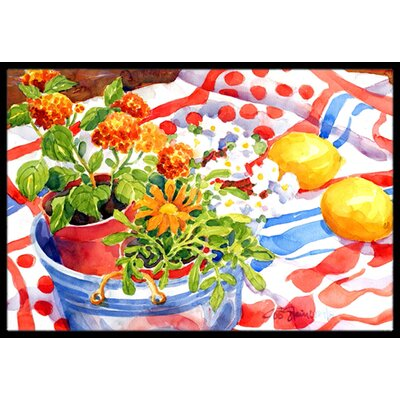Flowers with a Side of Lemons Doormat Rug Size: 2 x 3