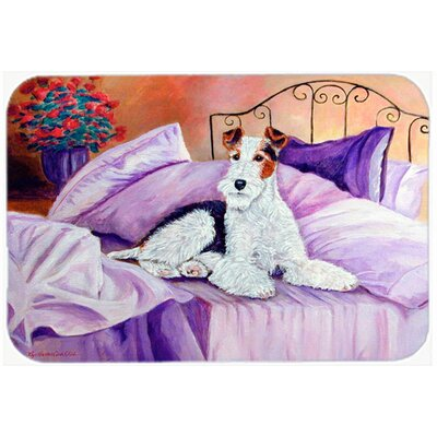 Fox Terrier Waiting on Mom Kitchen/Bath Mat Size: 24 H x 36 W x 0.25 D
