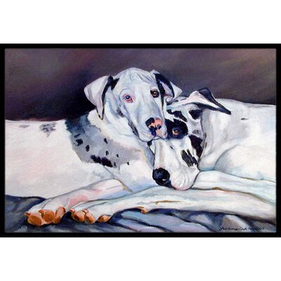 Harlequin Natural Great Danes Doormat Rug Size: Rectangle 2 x 3