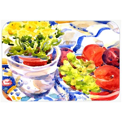 Apples, Plums and Grapes with Flowers Kitchen/Bath Mat Size: 24 H x 36 W x 0.25 D