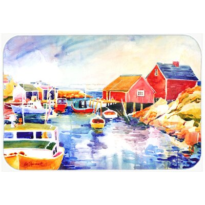 Boats At Harbour with a View Kitchen/Bath Mat Size: 24 H x 36 W x 0.25 D