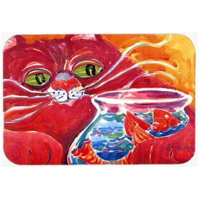 Big Cat At The Fishbowl Kitchen/Bath Mat Size: 24 H x 36 W x 0.25 D