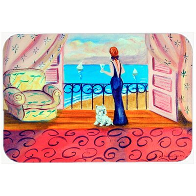 Westie with Mom and a View Kitchen/Bath Mat Size: 24 H x 36 W x 0.25 D