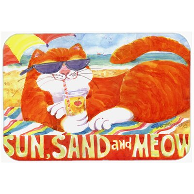 Orange Tabby At The Beach Kitchen/Bath Mat Size: 24 H x 36 W x 0.25 D