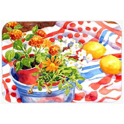 Flowers with a Side Of Lemons Kitchen/Bath Mat Size: 24 H x 36 W x 0.25 D