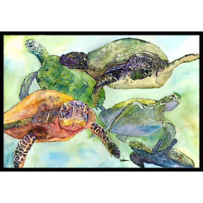 Loggerhead Turtle Family Doormat Rug Size: Rectangle 16 x 2 3