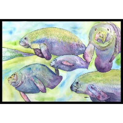 Manatee Doormat Rug Size: Rectangle 2 x 3